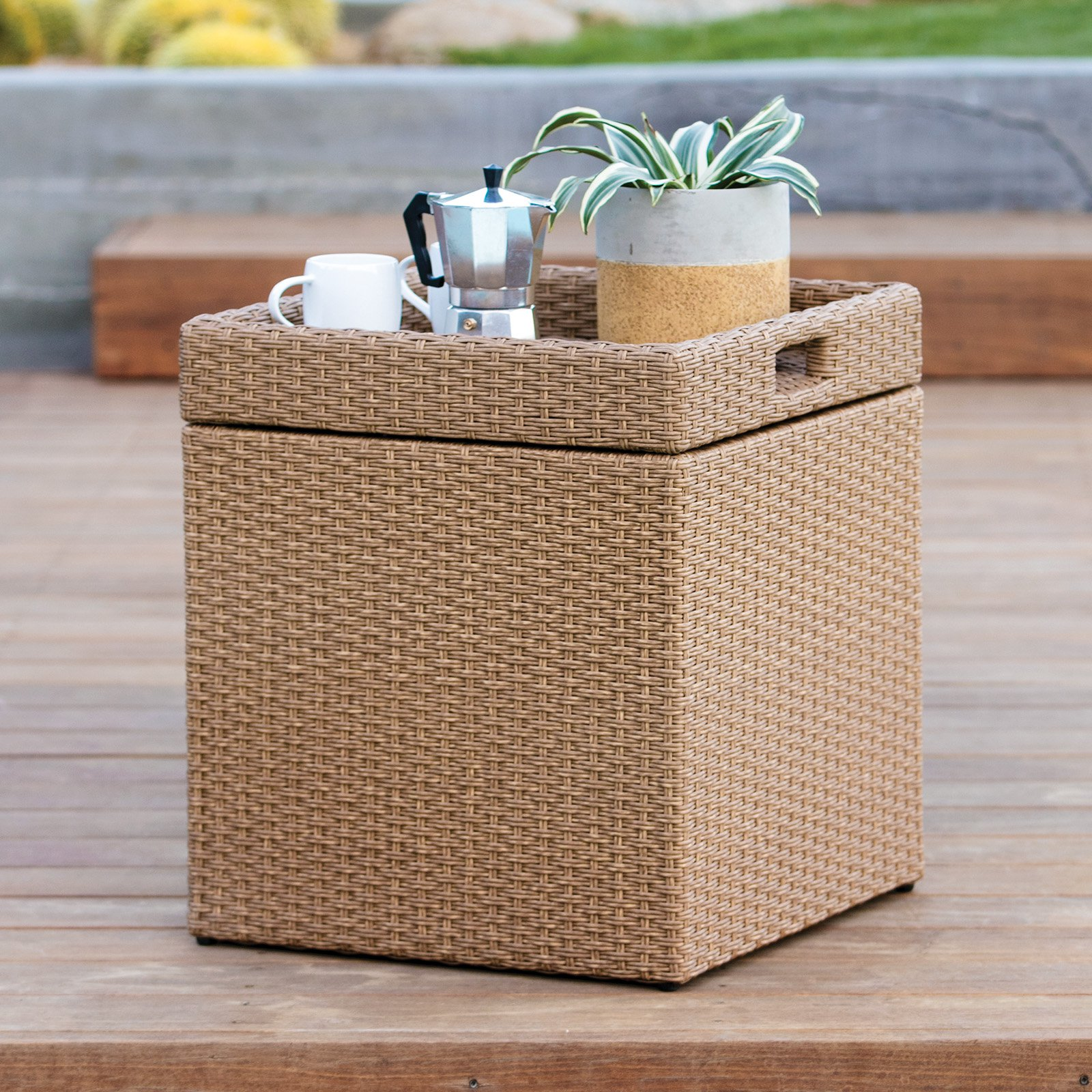 Coral Coast Tanna All Weather Wicker Outdoor Storage Cube With Tray Top    Honey Natural