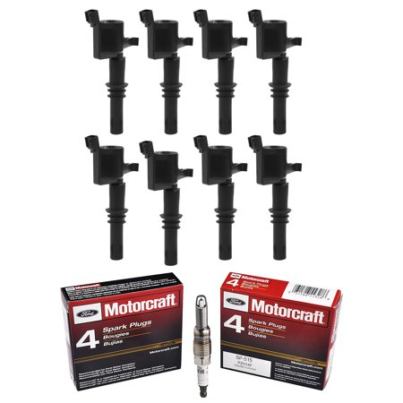 Set of 8 ISA Ignition Coils & Motorcraft Spark Plugs SP515 For 2004-2008  Ford F-150 5.4L V8 Compatible with DG511 UF537 SP515 ()