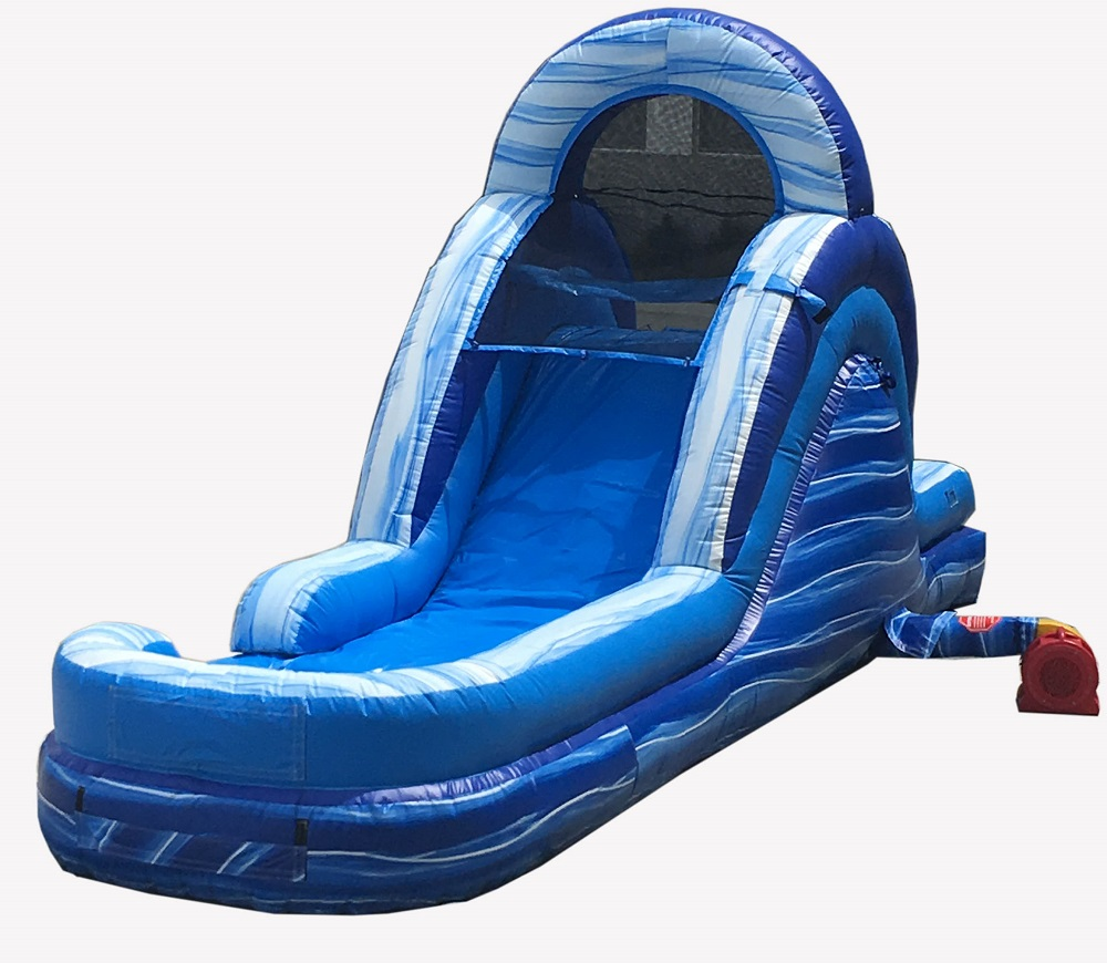 Pogo 12' Blue Marble Commercial Inflatable Waterslide with Blower Kids Bouncy Jumper by Pogo Bounce House