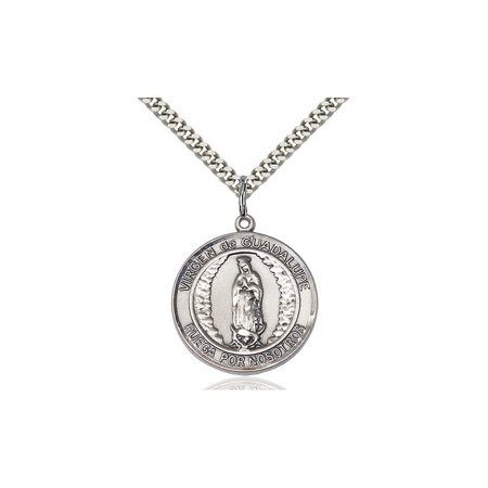 Solid 925 Sterling Silver Round Medal Pendant Saint St  Virgen De Guadalupe Pendant Our Lady Miraculous Protective Ol On A 24 Stainless Curb Chain Necklace Gift Boxed