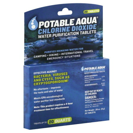 Potable Aqua Chlorine Dioxide Water Purification Tablets  - 20 (Steripen Water Purification)