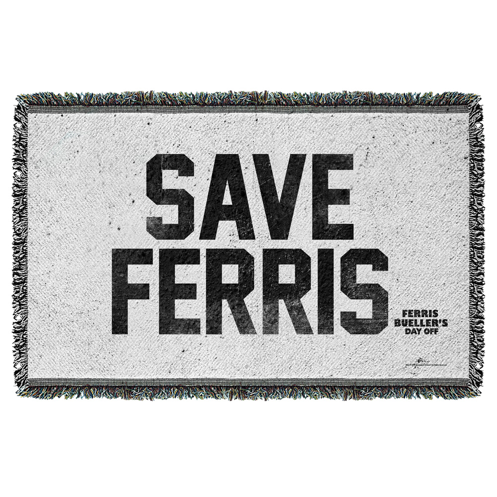 Ferris Bueller Save Ferris Woven Throw White 48X80