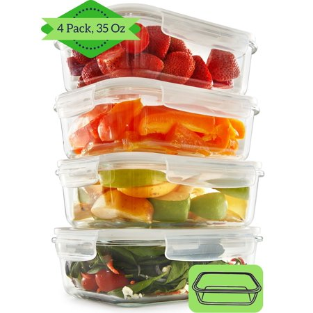 1399fb131ef1 Glass Meal Prep Containers (4 Pack, 35 Oz) - Food Storage Containers ...