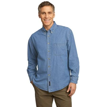 - Port & Company Men's Long Sleeve Value Denim Shirt SP10