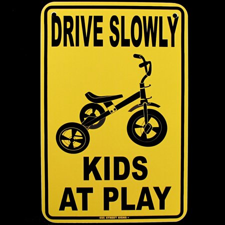 DRIVE SLOW KIDS AT PLAY Metal Street Sign Child Safety Caution/Children Warning Caution Children Playing Signs