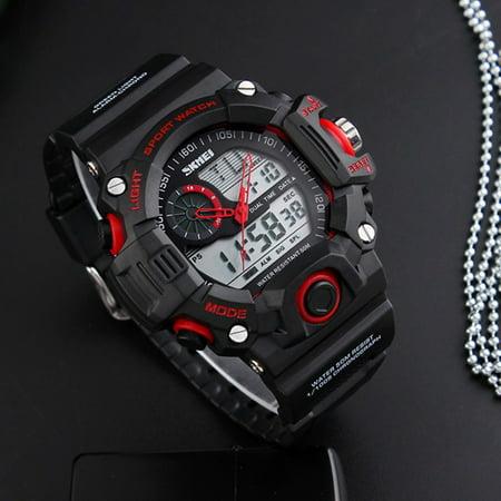 Men's S-SHOCK Waterproof Sport Army Alarm Date Analog&Digital Wrist Watch-Red Analog Date Wrist Watch