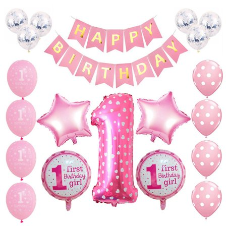 AkoaDa 1set  Birthday Party Balloon Digit 1 Helium Foil Balloons Boy Girl  1 Years Old Baloon Baby Shower Party Decorations (6 Year Old Little Girl Birthday Party Ideas)