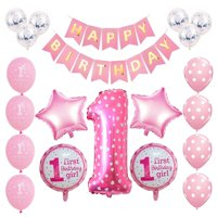 AkoaDa 1set  Birthday Party Balloon Digit 1 Helium Foil Balloons Boy Girl  1 Years Old Baloon Baby Shower Party Decorations Supplies