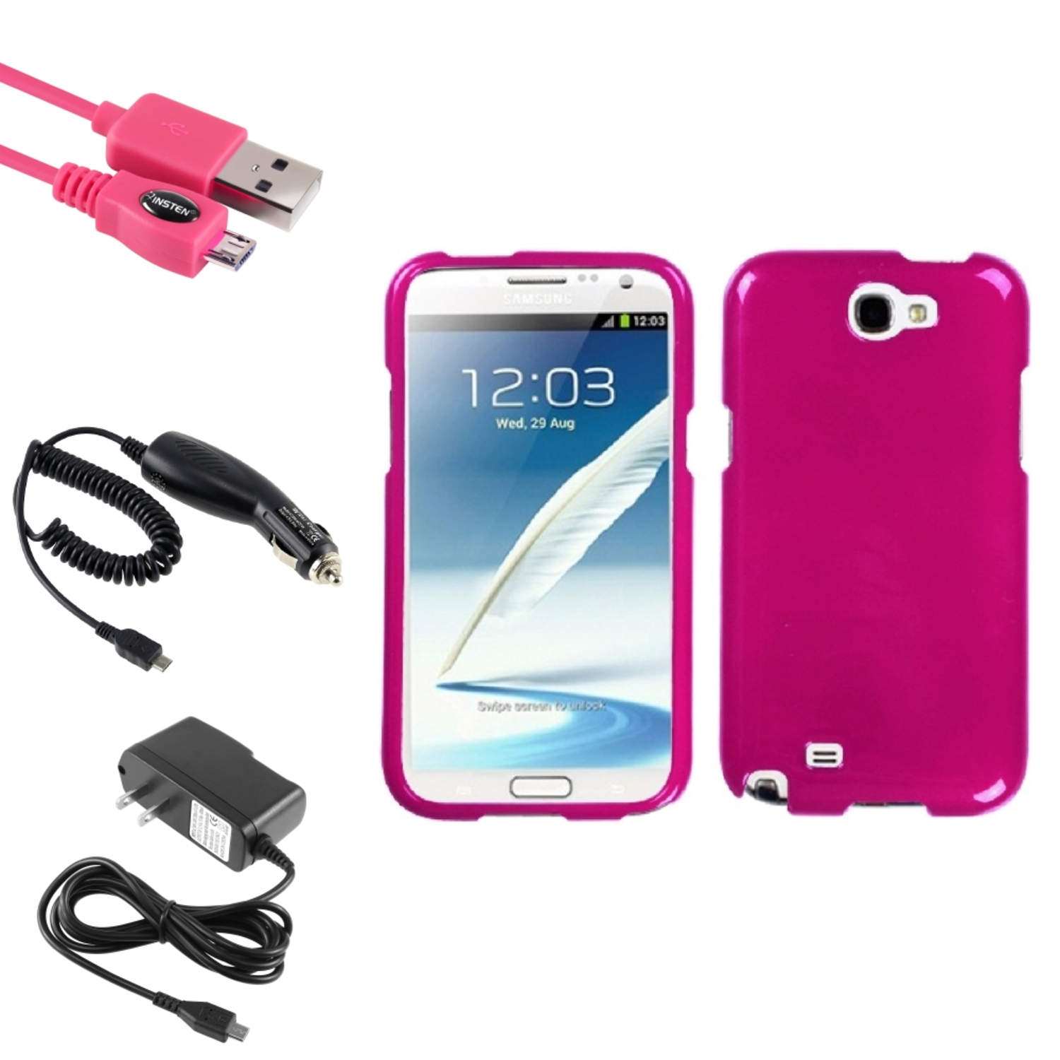 Insten Solid Hot Pink Hard Case 2x Charger USB For Samsung Galaxy Note 2 II