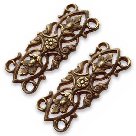 Brass 2 Hole - Vintaj Natural Brass 4 Hole Acorn Leaves Connector Beads 12 x 30mm (2)