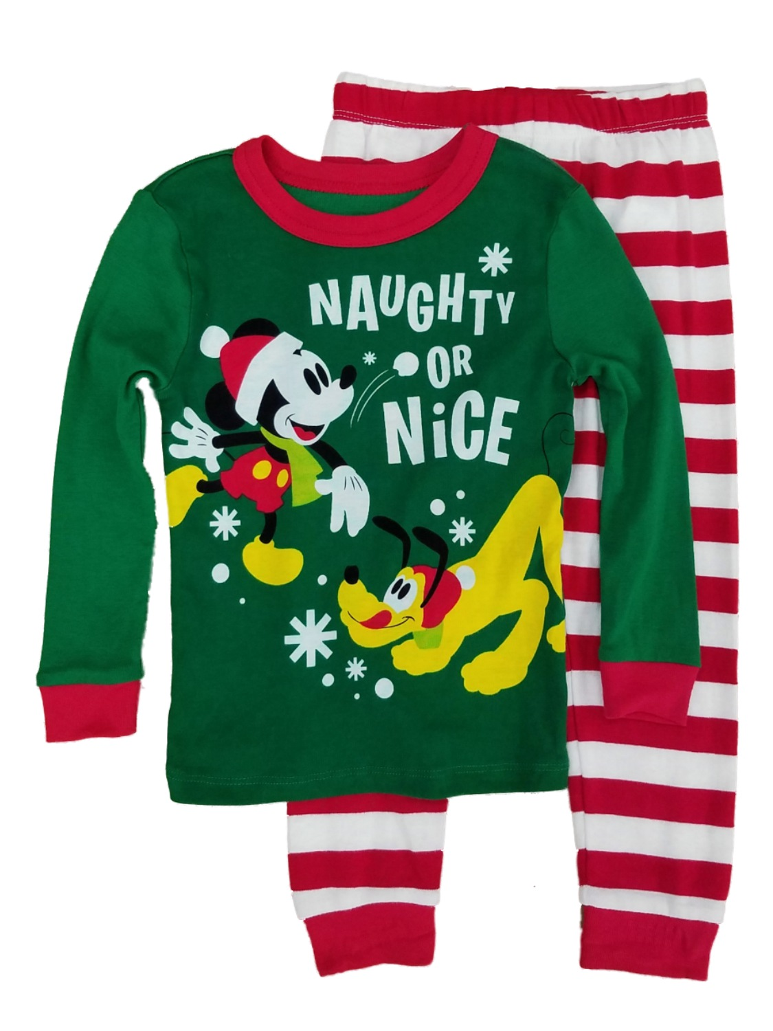 Disney Boys Mickey & Pluto Naughty or Nice 2pc. Knit Sleepwear Pajama Set
