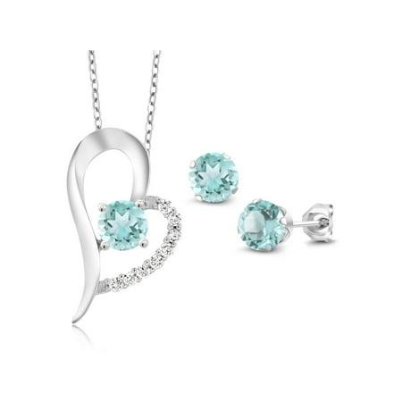 3.90 Ct Round Sky Blue Topaz 925 Sterling Silver Pendant Earrings Set