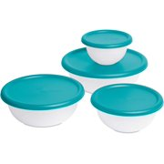 Multipurpose 8 Piece Covered Bowl Set With Lids for Storage,Transporting Food, Baking, Parties, Gatherings-BPA Phthalate Free-Turquoise