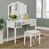 Contemporary Vanity With Stool, White