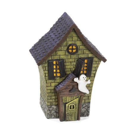 Halloween House Figurine with Ghost Accent : 3.15 x 5.98 inches