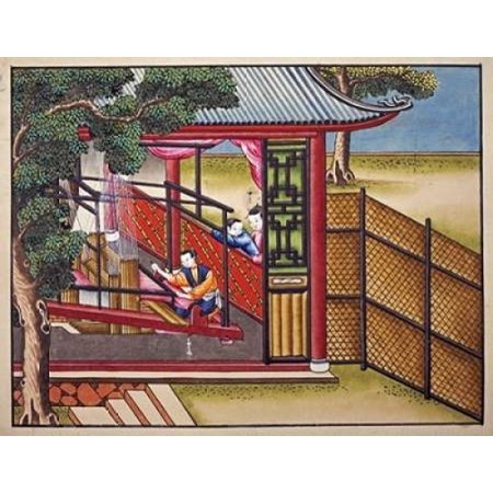 Weaving Silk On a Loom Rolled Canvas Art - Chinese School (9 x 12)