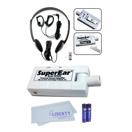 SuperEar Plus SE5000 Personal Sound Amplifier by Sonic Technology with Headphone & Earbud, Extra Batteries & Liberty Microfiber Cleaning