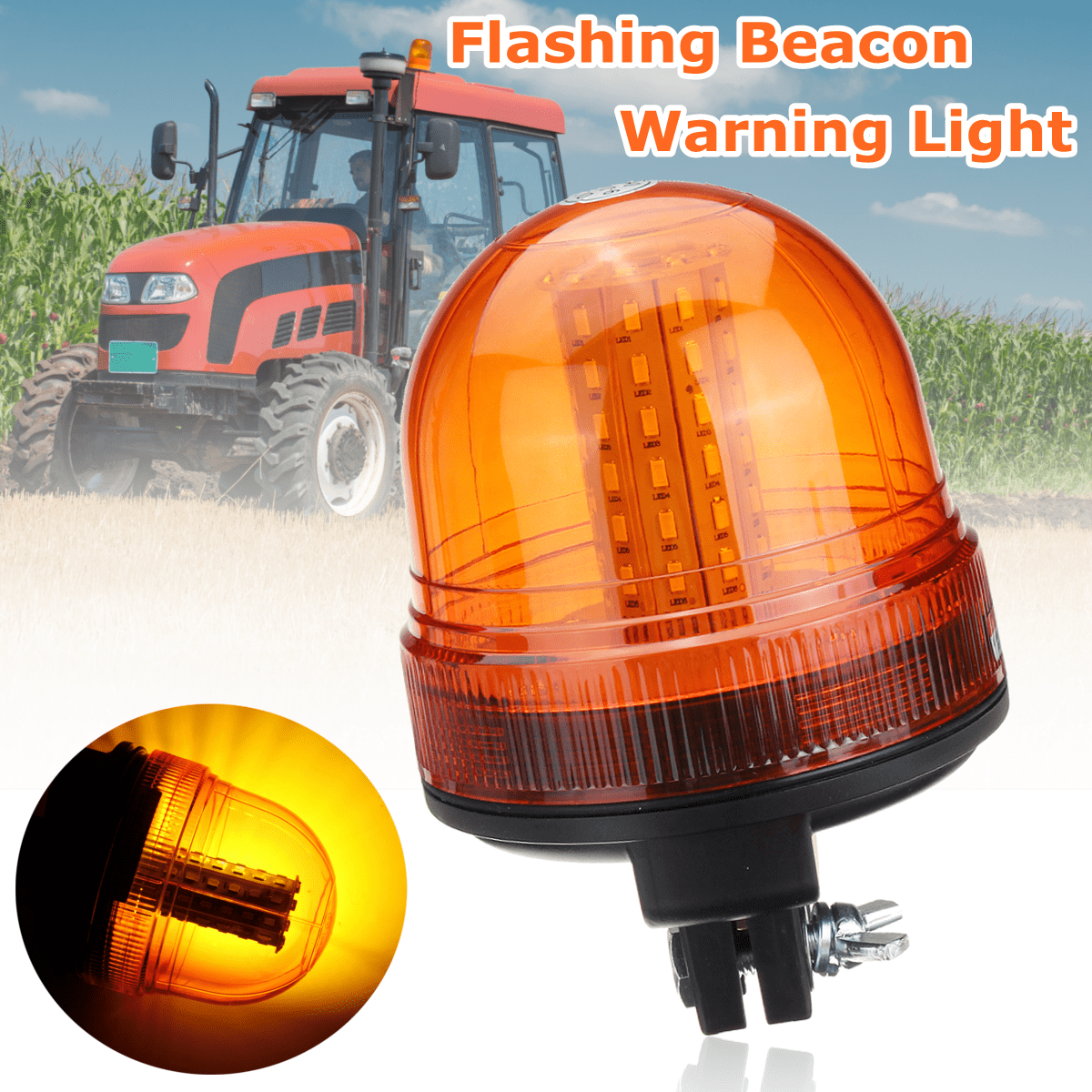 Security & Protection Roadway Safety New Led Amber Beacon Flexible Rotating Flashing Din Pole Mount Tractor Warning Light Safety