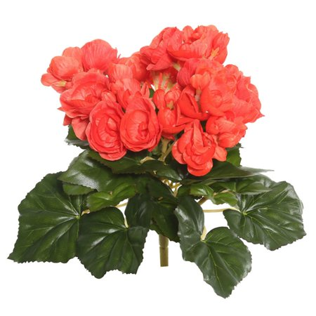 """Vickerman 9.5"""" Orange Polyester Begonia Bush with 36 Leaves and 54 Flowers"""