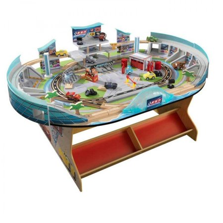 KidKraft Disney Pixar Cars 3 Florida Speedway Train Table Racetrack (Race Car Theme)