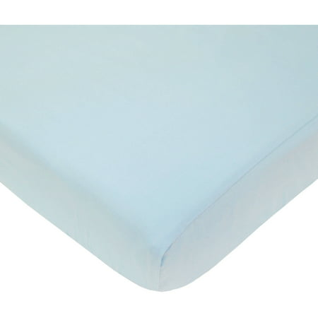 American Baby Company Fitted Portable/Mini Crib Sheet, 100% Natural Cotton Percale, Blue, Soft Breathable, for Boys and