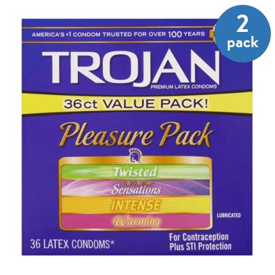 (2 Pack) Trojan Pleasure Pack Lubricated Condoms, 36ct