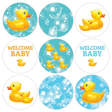Rubber Ducky Baby Shower Stickers 216ct - Rubber Duck Bubble Bath Party Favors Rubber Duckies Baby Shower Supplies Decorations - 216 Count - Blue And Yellow Baby Shower
