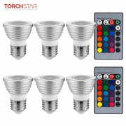 TORCHSTAR 6 Pack RGB Color Changing LED Floodlight Bulb Kit, 3W Multi-Color LED E26 Light Bulbs + 2 IR Remotes, Silver