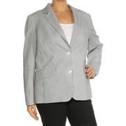 ANNE KLEIN Womens Black Pinstripe Collared Suit Wear To Work Jacket Plus  Size: 14W
