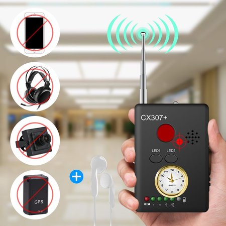 RF Detector Bug Detector Anti Spy Camera Signal Detector, Handheld Rechargeable Wireless Almighty Hidden Camera Laser Lens GSM Device Finder with Adapter And Earphone