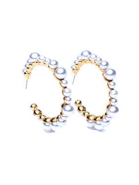 White Pearl Pierced Hoop Earrings