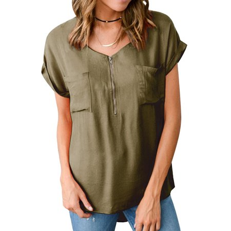 Front Zip Skirt (ZXZY Women Cuffed Short Sleeve V Neck Zip Front Pocket Solid Color Blouse Tops)