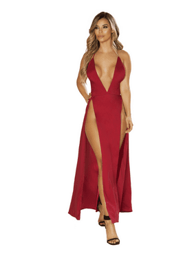 c29a1abc242 Product Image Maxi Length Satin - Dress with High Slits. Roma Costume
