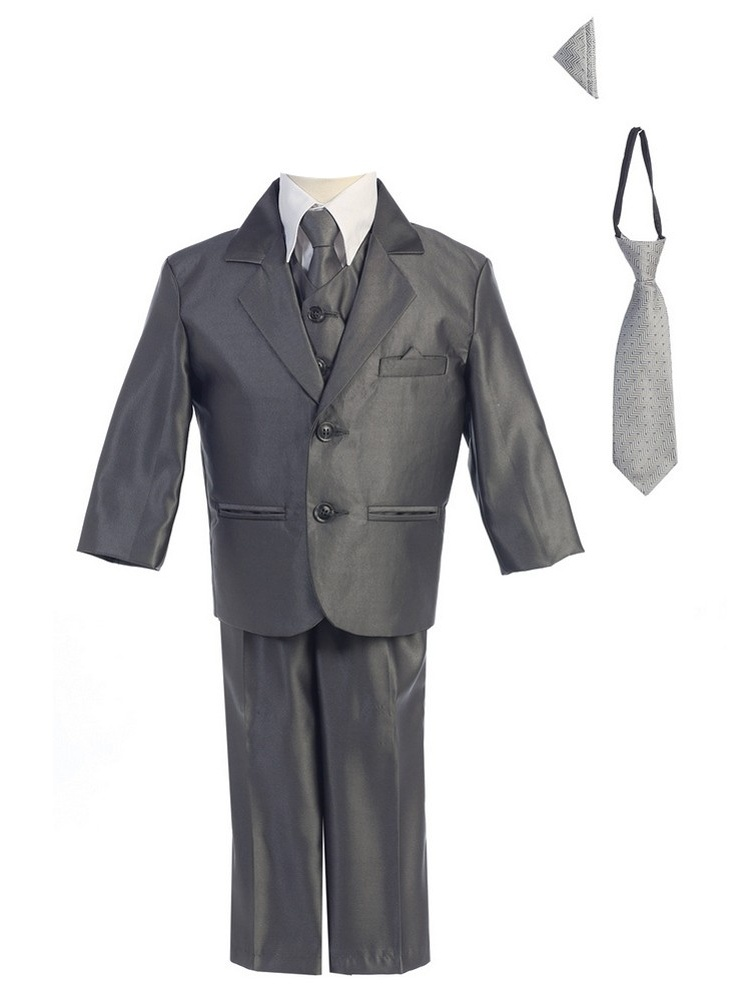 Little Boys Pewter Two-button Metallic Special Occasion Suit 2-7