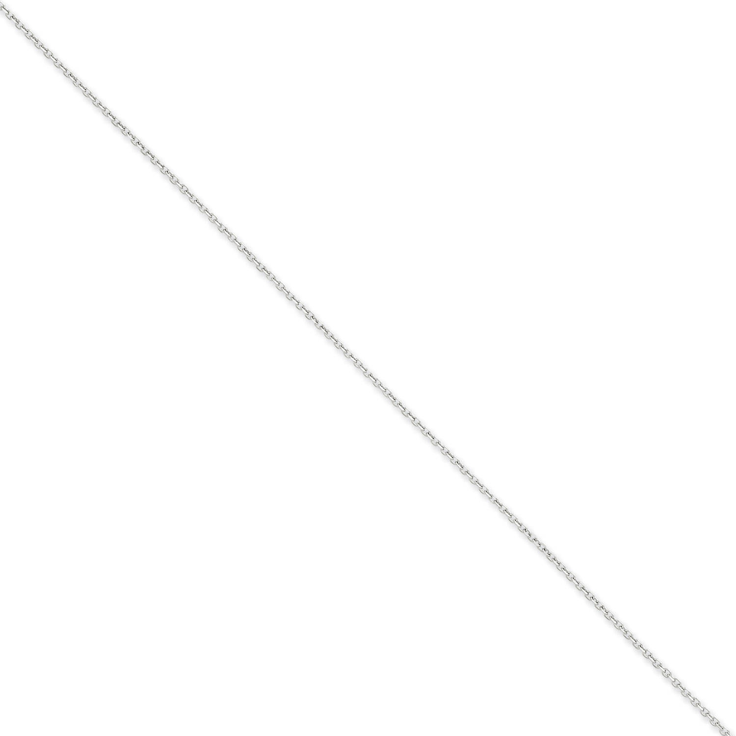 14kt White Gold 1.40mm Diamond-Cut Cable Chain by Generic