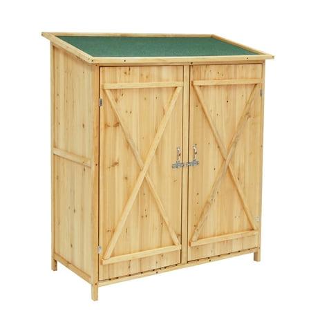 kinbor outdoor garden storage shed wood cabinet tools organizers with lockable doors. Black Bedroom Furniture Sets. Home Design Ideas