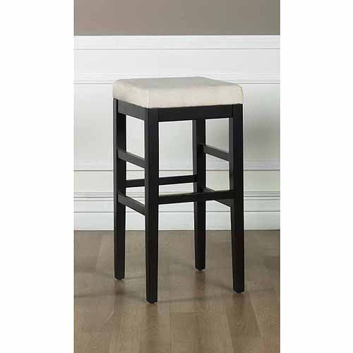 "Sonata 26"" Stationary Barstool, Beige Micro Fiber with Black Legs"