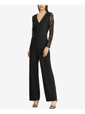 RALPH LAUREN Womens Black Lace Bodice Long Sleeve V Neck Wide Leg Evening Jumpsuit  Size: 16