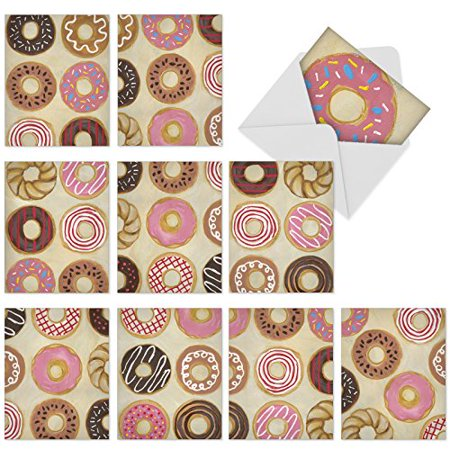 'M6021 TIME TO SEND THE DONUTS' 10 Assorted All Occasions Note Cards Featuring Images Of Tasty-Looking Doughnuts with Envelopes by The Best Card (Best Looking Legs Of All Time)