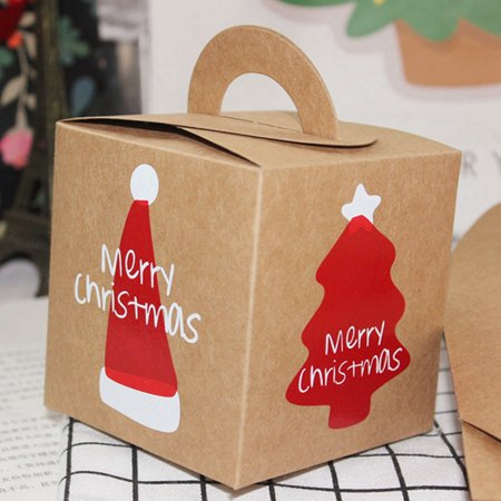 KABOER Childrens Boys Girls Christmas Kids Treat Gift Kraft Box Xmas Party Food Lunch Boxes Usable ()