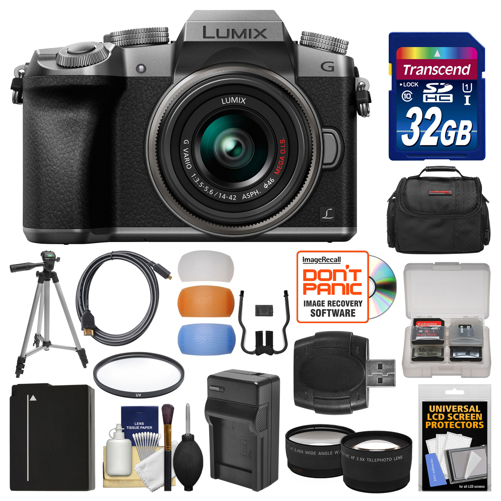 Panasonic Lumix DMC-G7 4K Wi-Fi Digital Camera & 14-42mm Lens (Silver) with 32GB Card + Case + Battery & Charger + Tripod + Tele\/Wide Lenses Kit