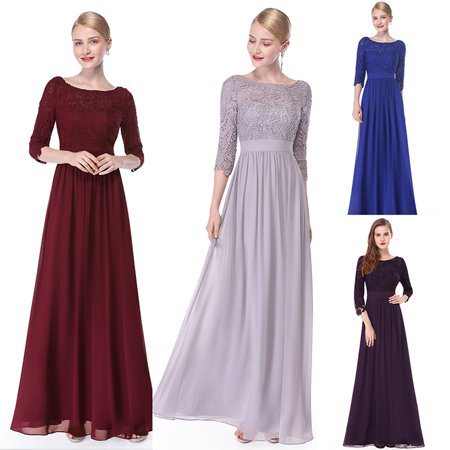Ever-Pretty Women's Elegant Floor-Length Mother of the bride dresses for Winter 4 US Burgundy 08412 (A To Z Dress Up)