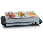 MegaChef Buffet Server & Food Warmer With 3 Removable Sectional Trays , Heated