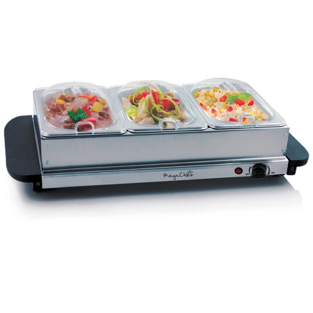 MegaChef Buffet Server & Food Warmer With 3 Removable Sectional Trays , Heated Warming Tray and Removable Tray Frame (Food Service Tray)