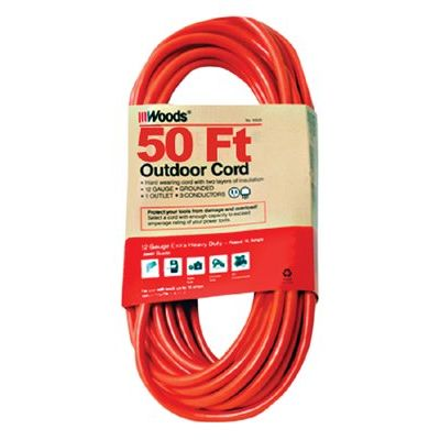 Outdoor Round Vinyl Extension Cord, 100 ft