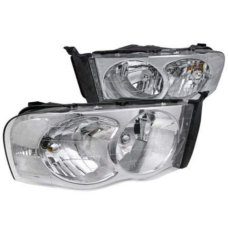 Spec-D Tuning For 2002-2005 Dodge Ram 1500 2500 Crystal Clear Headlight Head Lamps Chrome 2002 2003 2004 2005 (Left+Right)
