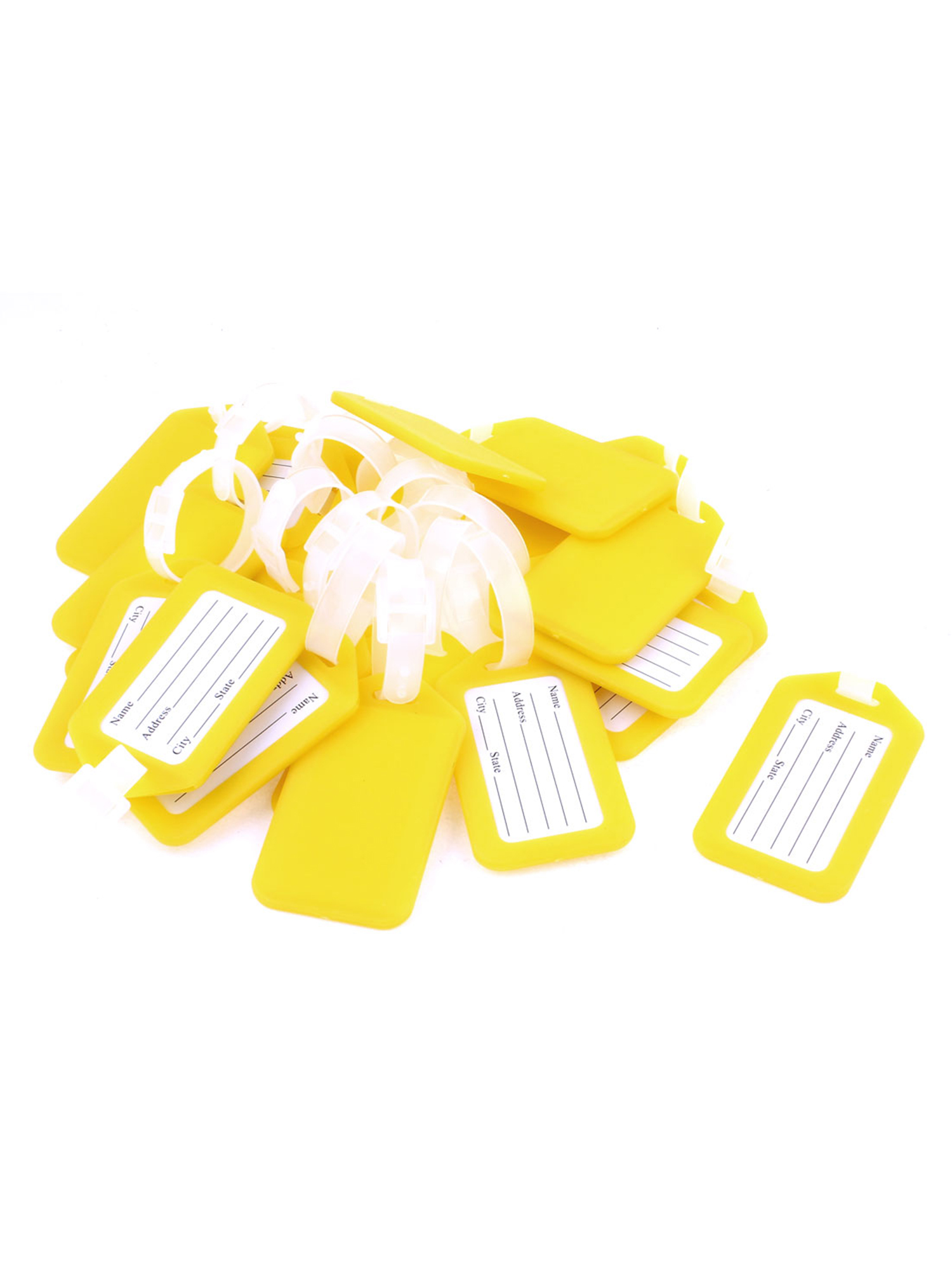 Unique Bargains 20 Pcs Yellow White Hard Plastic Suitcase Name Message Card Label Travel Luggage Tags