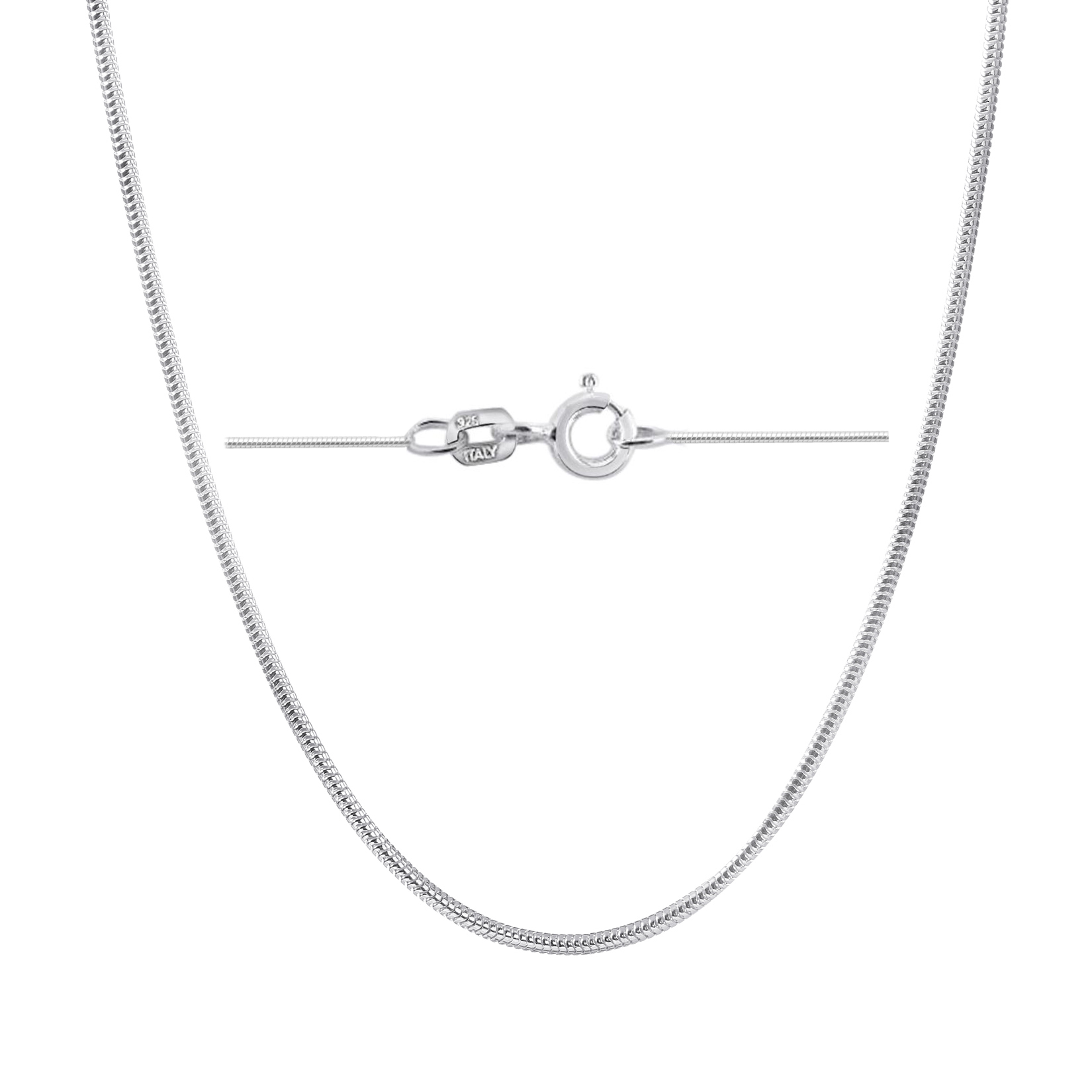 Sterling Silver Womens 1mm Box Chain Sippy Cup Pendant Necklace