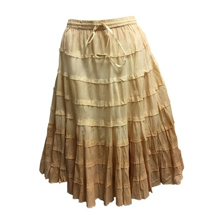 f7e741586b6 Ambey Craft - Missy Plus Bohemian Gauze Cotton Tiered Crinkled Broomstick  Skirt OMBRE Mid Length ( 5 Beige) - Walmart.com