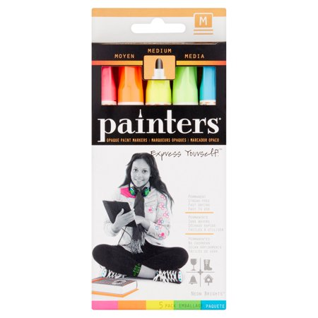 Painters Neon Brights Medium Opaque Paint Markers, 5 pack